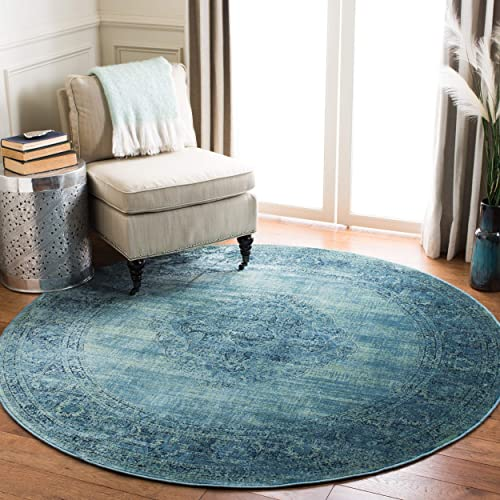 Safavieh Vintage Premium Collection VTG112-2220 Transitional Oriental Turquoise and Multi Distressed Silky Viscose Round Area Rug 8' Diameter