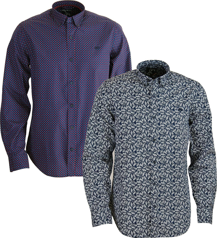New para Hombre Toro Salvaje Camiseta – Algodón Manga Larga Botón Cuello Camisa Azul Navy_Floral Medium: Amazon.es: Ropa y accesorios