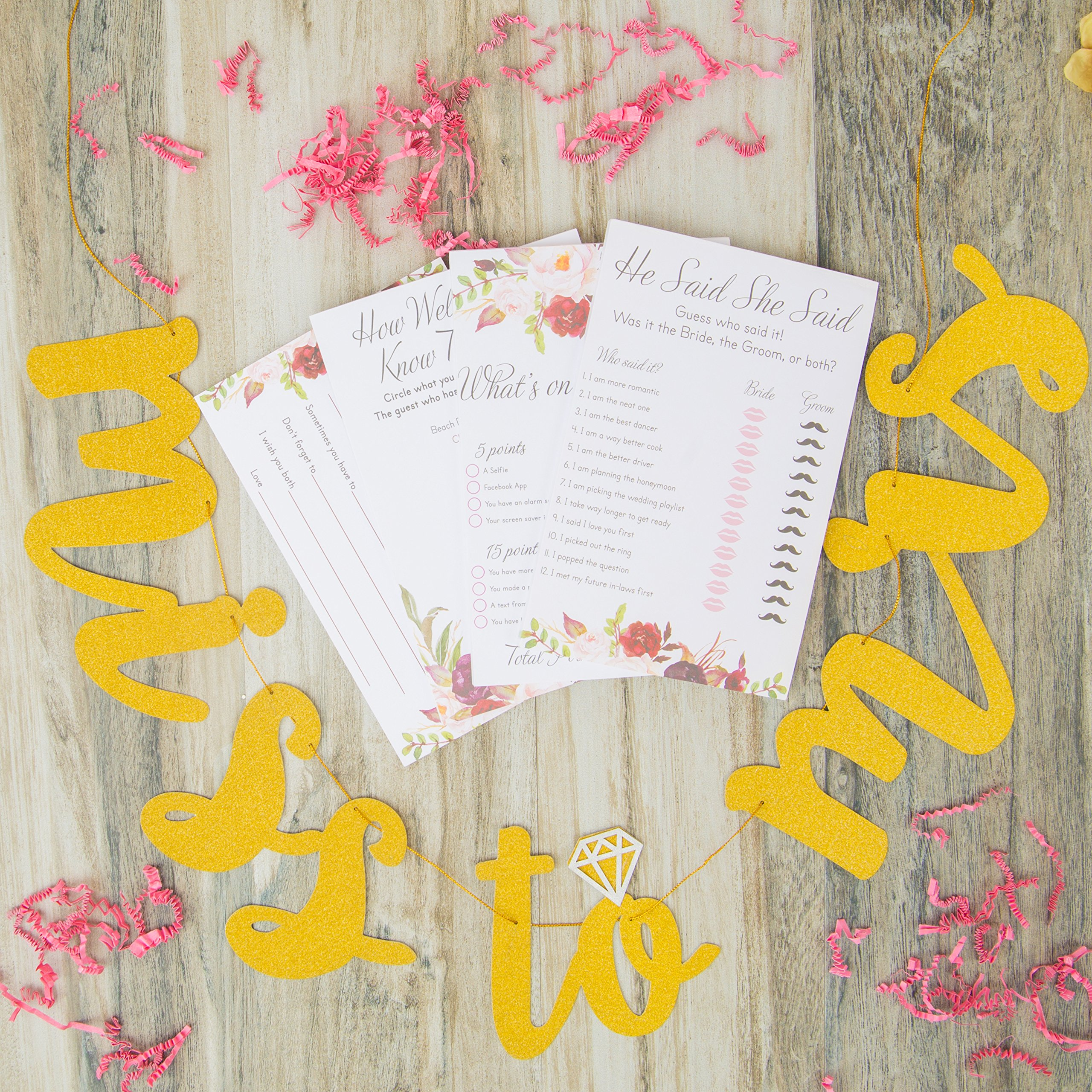 Bridal Shower Games pack with Bonus Miss to Mrs Banner (GOLD), Dots and Wedding Advice Cards | 3 Games - What's On Your Phone, He Said She Said, How Well Do You Know The Bride(50 Sheets each) by Planet Mango (Image #2)