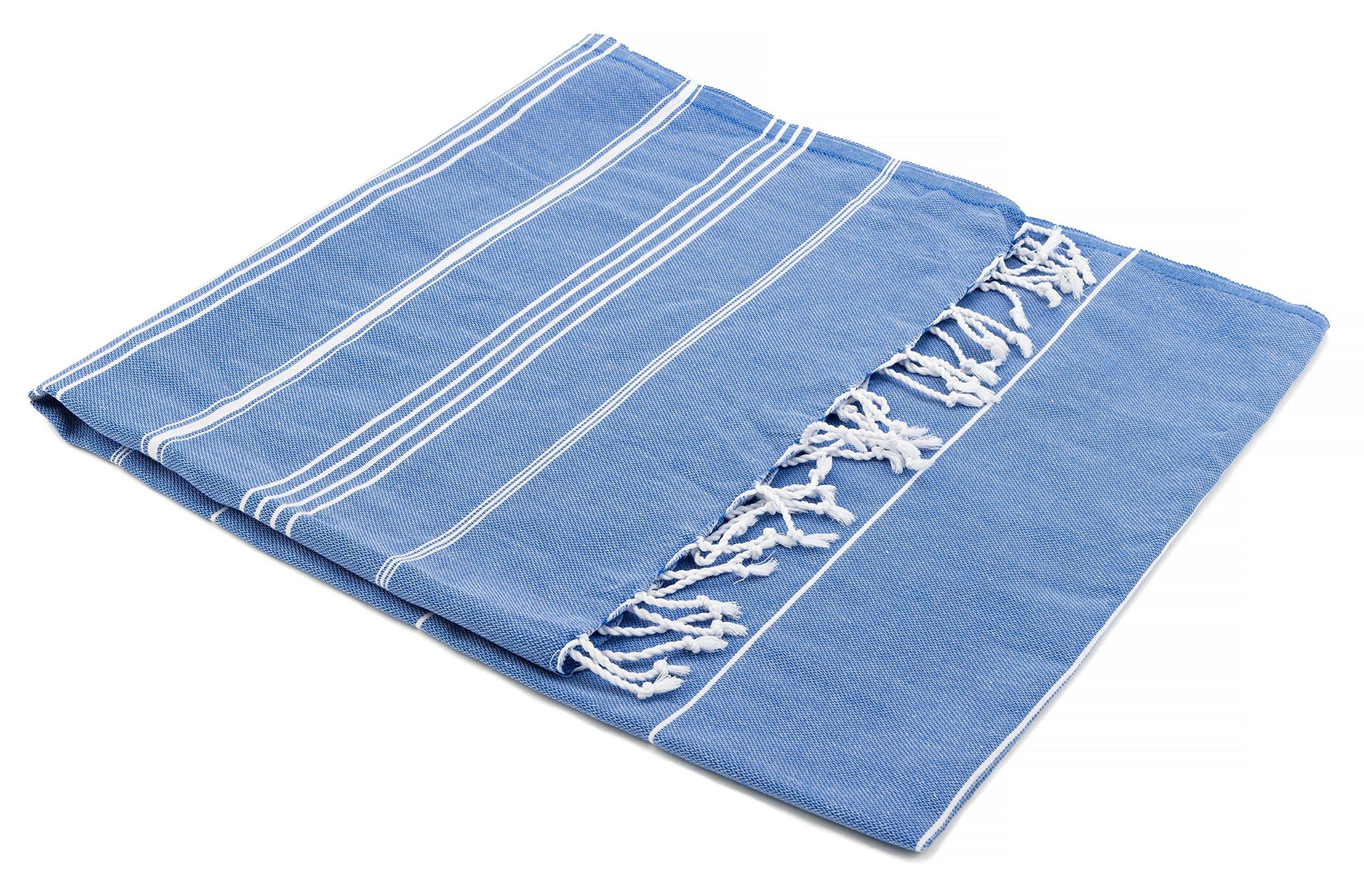 The Turkish Emporium Pestemal Sultan toalla de baño playa con diseño de rayas y con flecos