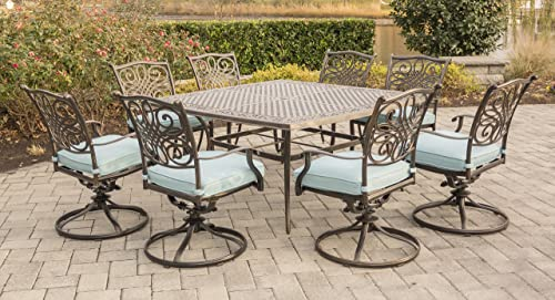 Hanover TRAD9PCSWSQ8-BLU 9 Piece Traditions Square Dining Set with 8 Swivel Chairs and Large 60 x 60 Table Outdoor Furniture, Blue