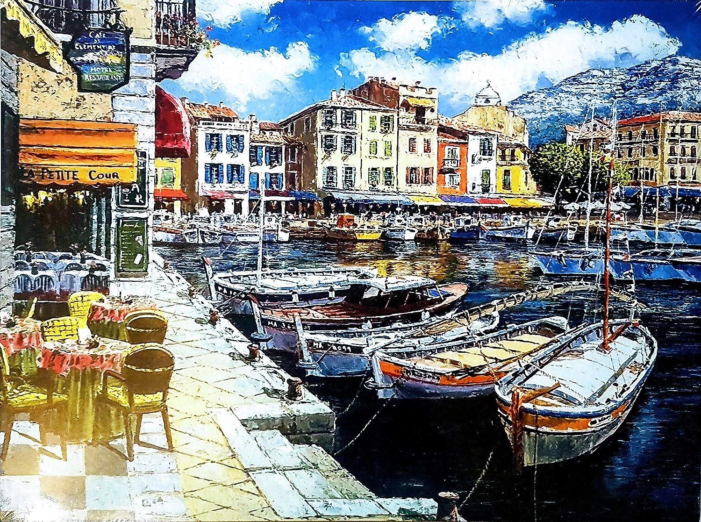 MI RINCON Cuadro de Madera Vintage Paisaje Marino Frances, 40x30 cm