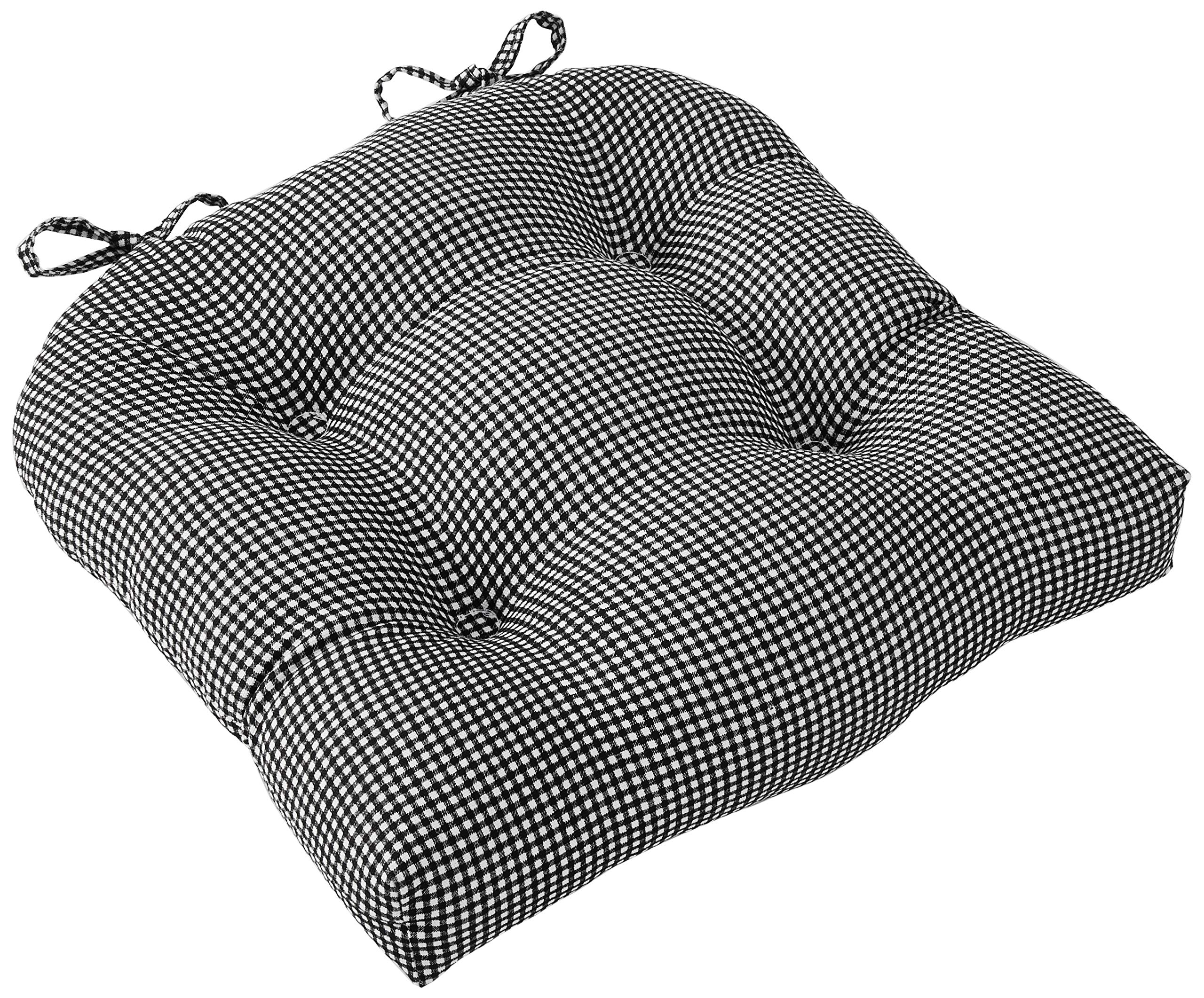 Ellis Curtain Logan Gingham Check Print Cushioned Chair Pad, Black by Ellis Curtain