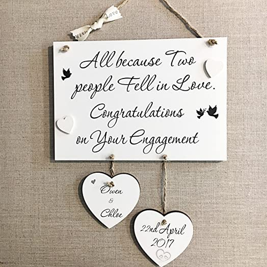 Personalised Engagement Wedding Anniversary Handmade Wooden Plaque ...