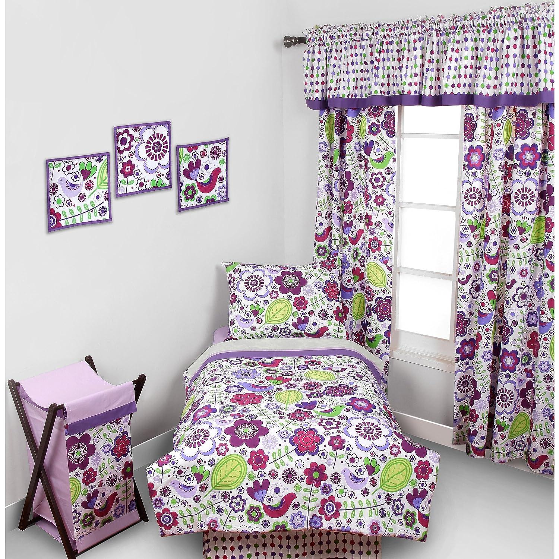 Tn 4 piece girls purple botanical toddler bedding white flower tn 4 piece girls purple botanical toddler bedding white flower toddler comforter set bird floral mightylinksfo