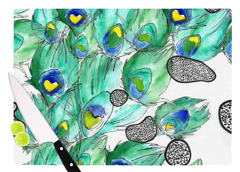 KESS InHouse Danii PollehnPeacockcell Green Animals Cutting Board 11.5 x 15.75 Multicolor
