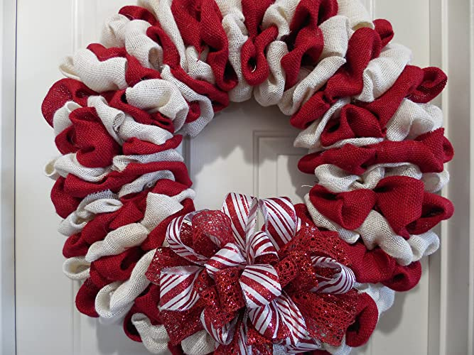 burlap candy cane christmas wreath
