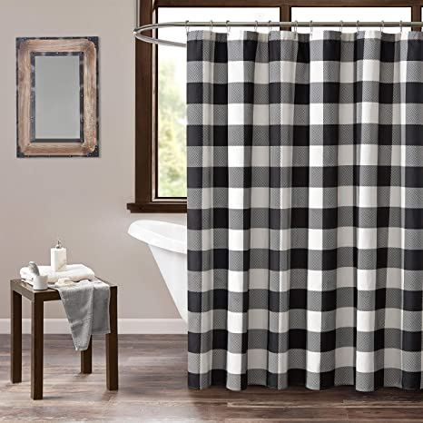 home spun holiday buffalo check shower curtain black and white