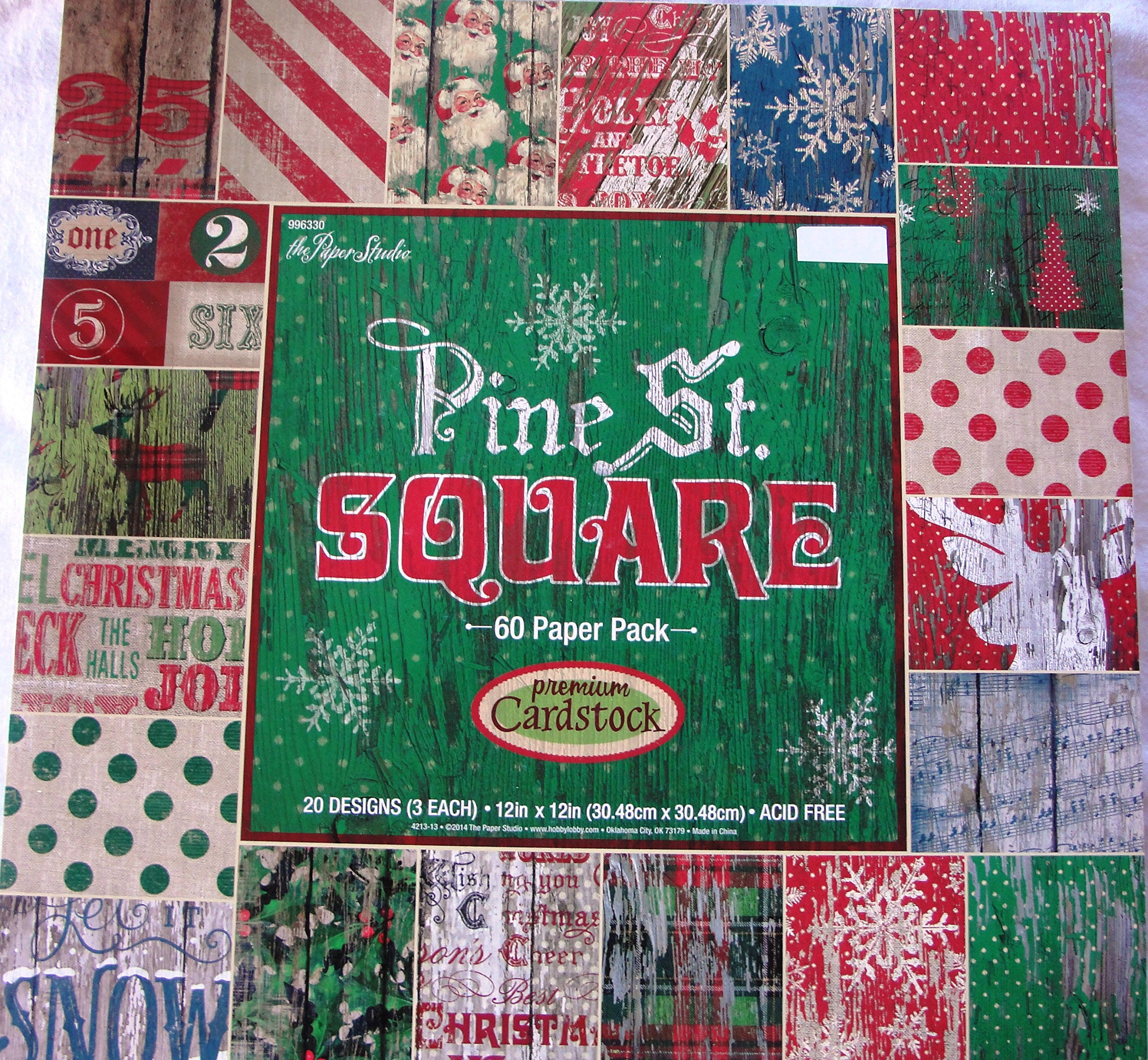 Pine St. Square 12x12 Premium Cardstock Christmas Scrapbooking Paper Pack 60 Sheets Christmas