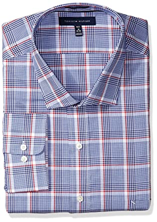 b4340d55 Amazon.com: Tommy Hilfiger Men's Tall Size Fit Non Iron Plaid Dress Shirt:  Clothing