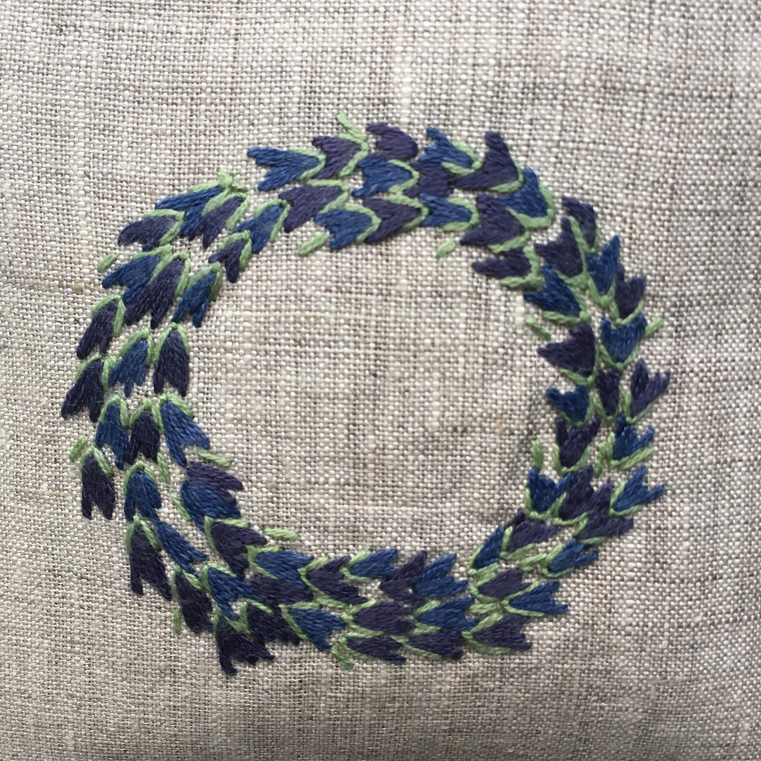 Hand Embroidered Lavender Pillow Sachet Bag ''Lavender Crown'' Natural Linen Cushion 6''x6'', Set of 3 by Minhcraft (Image #2)