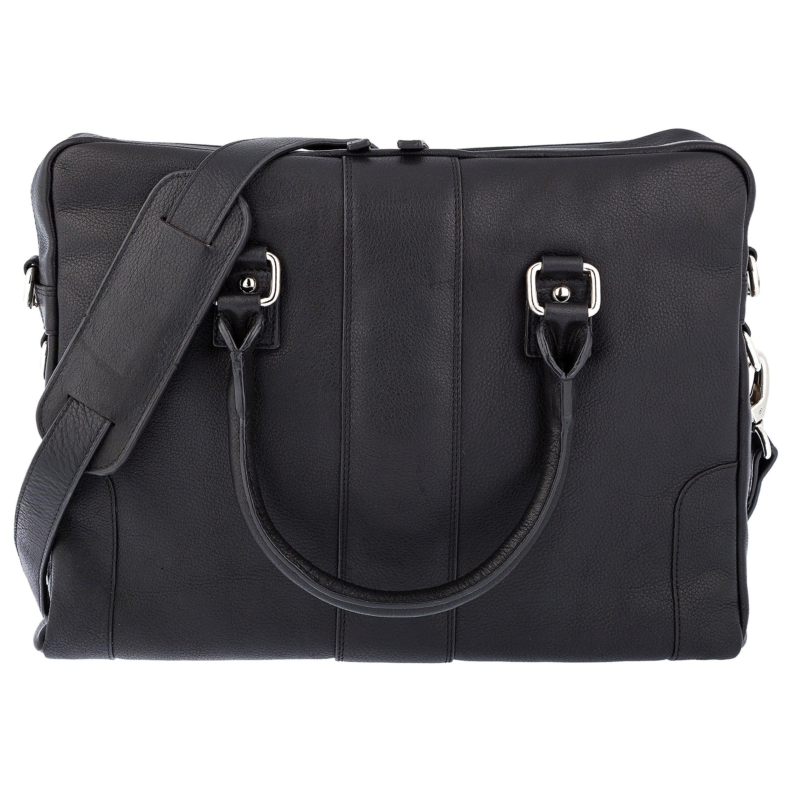 Genuine Leather Briefcase Shoulder Bag 13'' Laptop Bag (Black) SD 07