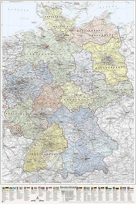 J Bauer Karten Deutschland Karte Politisch Bundeslander Poster