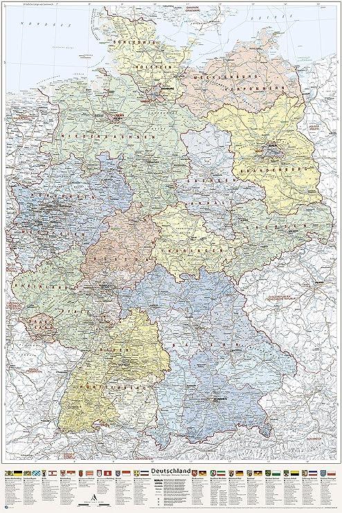 bundesländer karte J.Bauer Karten Deutschland Karte politisch (Bundesländer), Poster