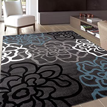 Amazon Com Contemporary Modern Floral Flowers Gray Area Rug 7 10 X 10 2 Furniture Decor