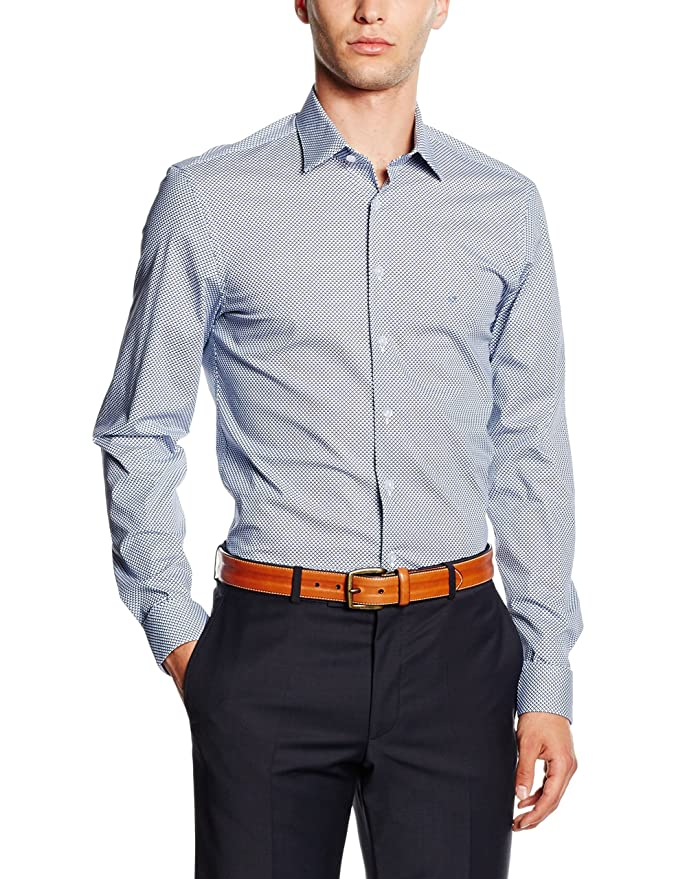 Calvin Klein Bari Slim FIT FTC Camisa, Blau (Smokey Blue 416), 42 ...