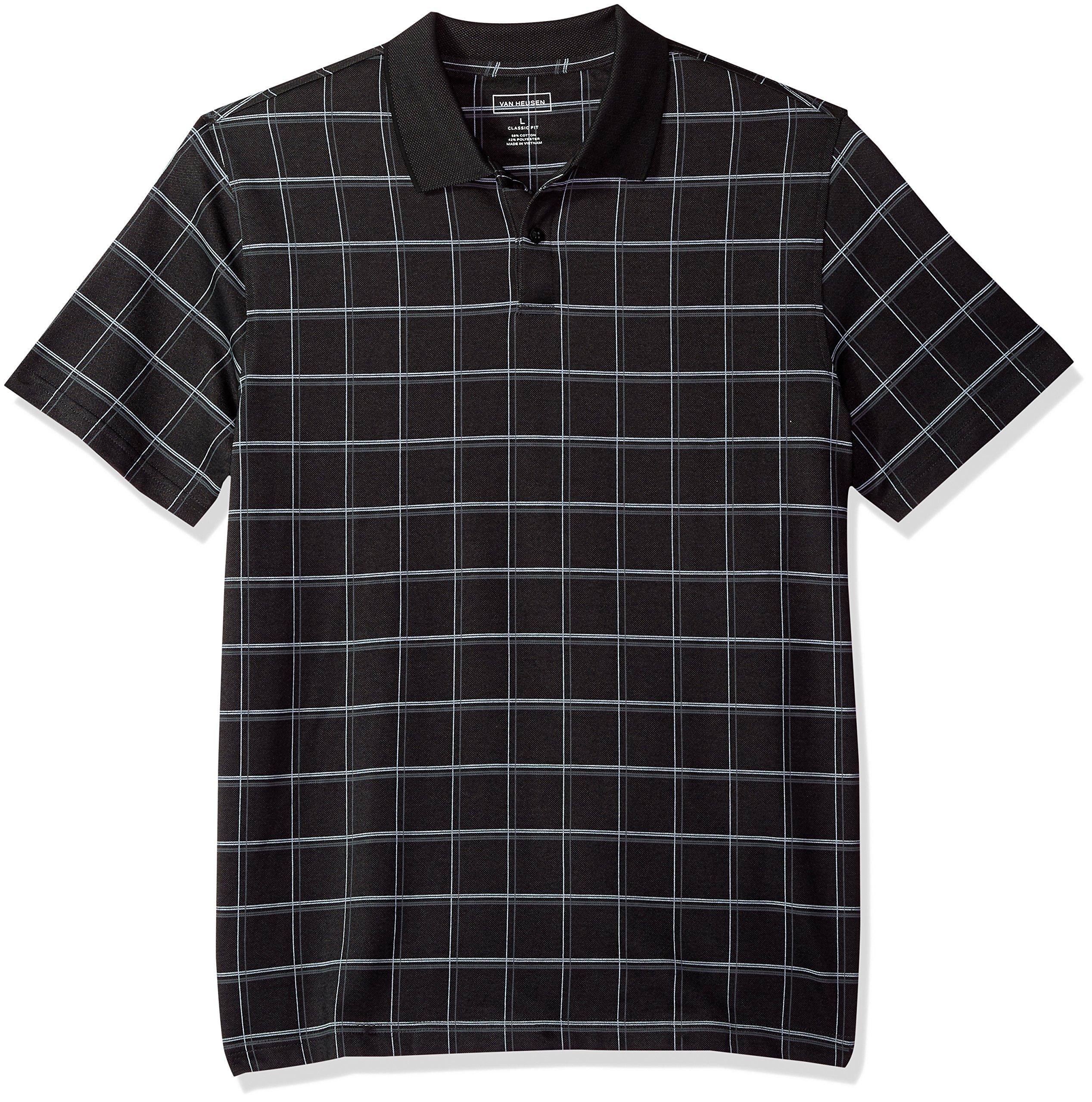 Van Heusen Men's Printed Windowpane Short Sleeve Polo, Black, XX-Large