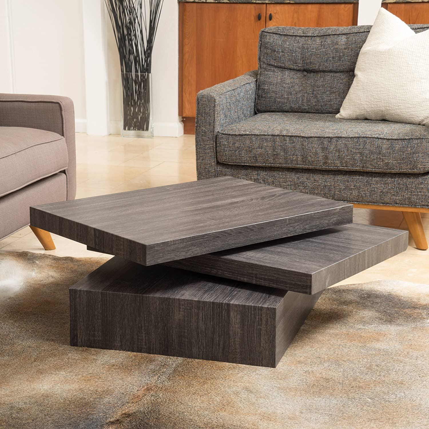 Amazon Haring Square Rotating Wood Coffee Table Kitchen & Dining