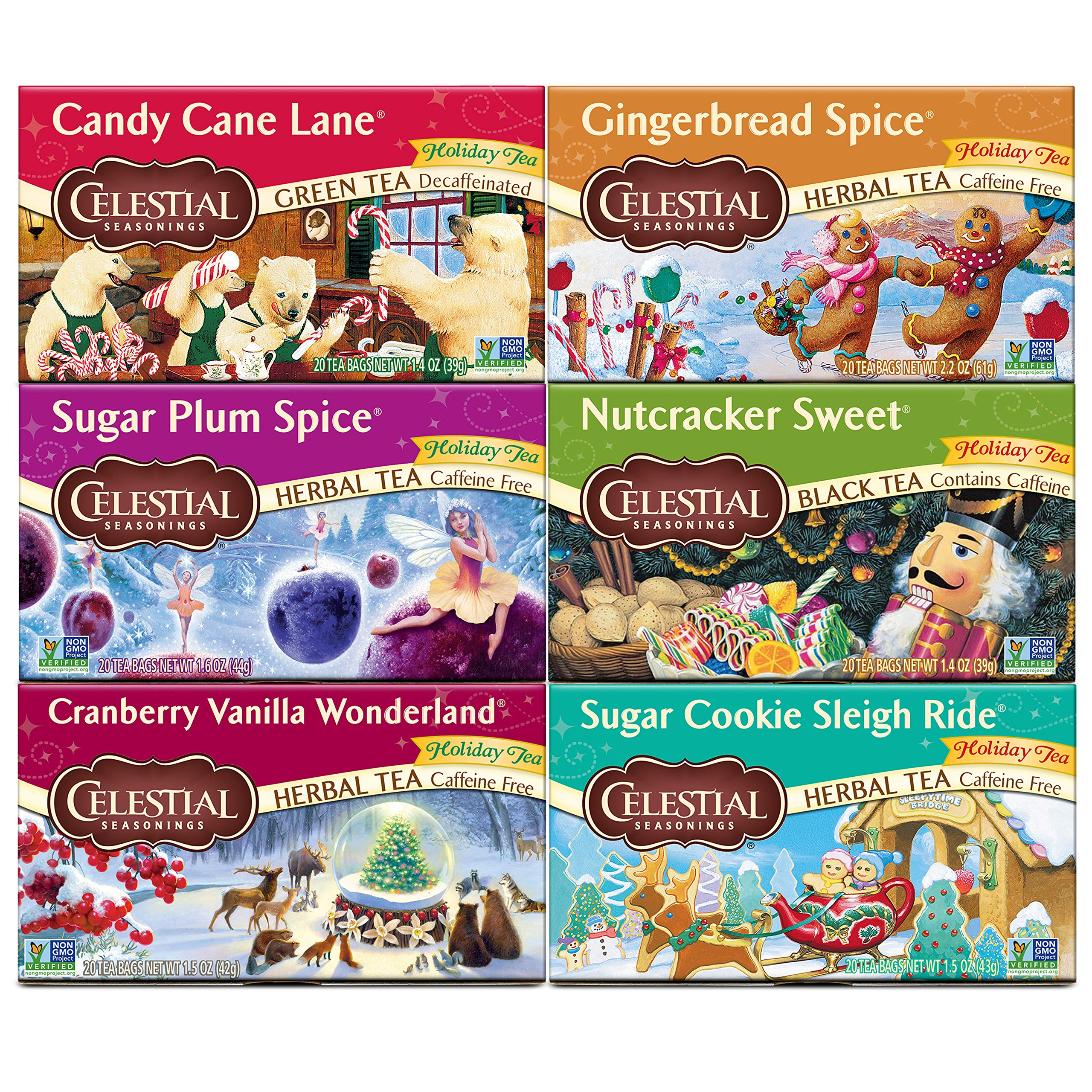 Celestial Seasonings Holiday Tea, Variety Pack, 20 Count (Pack of 6)
