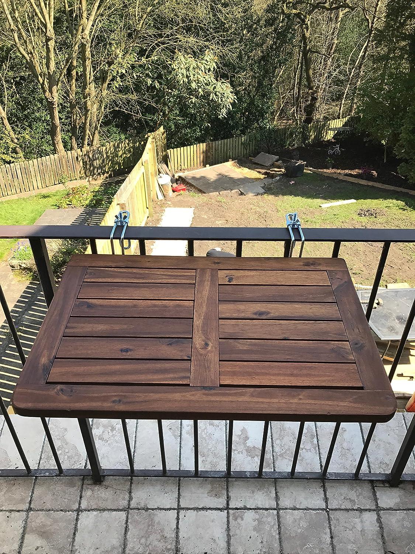 Click Deck, tavolo pieghevole da balcone, in legno massiccio, da appendere alla ringhiera, adatto per cene in giardino e barbecue o come tavolino di servizio Click-Deck Products