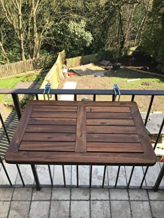Superior Click Deck Balcony Table HARDWOOD Table Folding Table Hanging Railing Table  Dining Garden BBQ Side