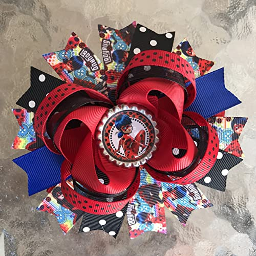 Red Polka Dot and Black Hair Bow Handmade Ladybug Stacked Boutique Hair Bow
