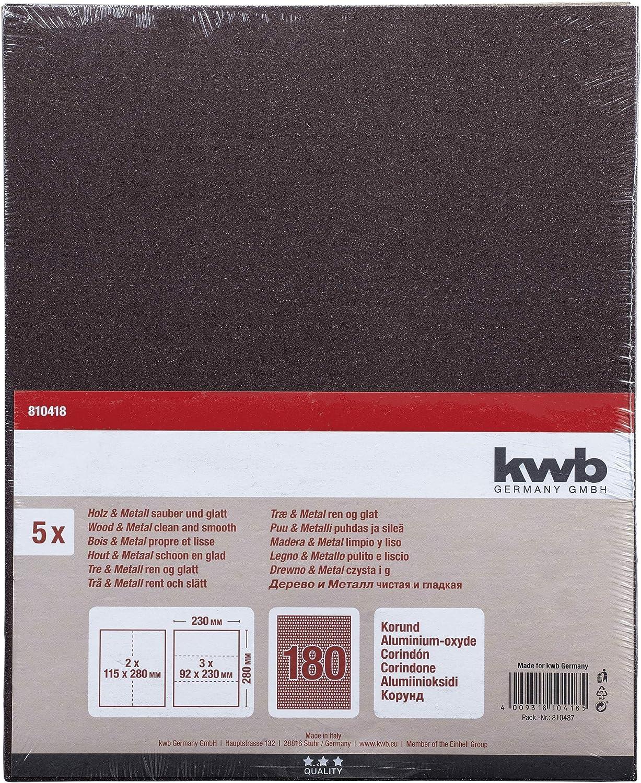 230 x 280 mm Farbe Korn K-150 verschwei/ßt 5 Stk Metal Lack und Spachtel Made in Europe kwb 810415 Schleif-Papier Schleif-Bogen Korund f/ür Holz