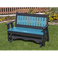 Ecommersify Inc 4FT-Aruba Blue-Poly Lumber Mission Porch Glider Heavy Duty Everlasting PolyTuf HDPE - Made in USA - Amish Crafted