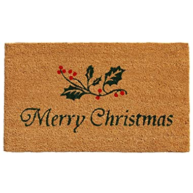 Calloway Mills 101881729 Christmas Holly Doormat, 17  x 29 , Natural, Green