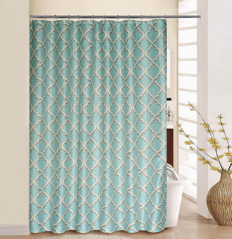 Circle Floral Fabric Bathroom Bath Shower Curtain Pink Green Turquoise 70x72