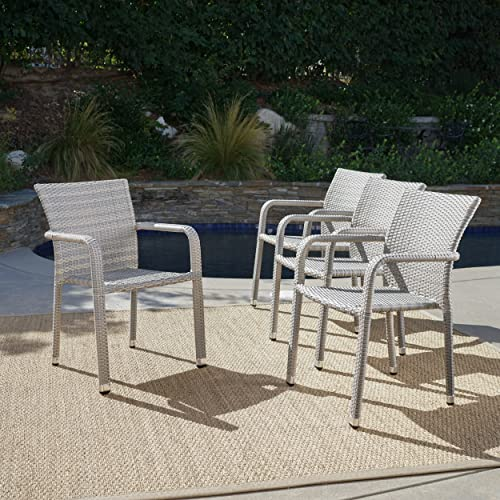 Dorside Outdoor Chateau Grey Wicker Armed Stacking Chairs with an Aluminum Frame Set of 4