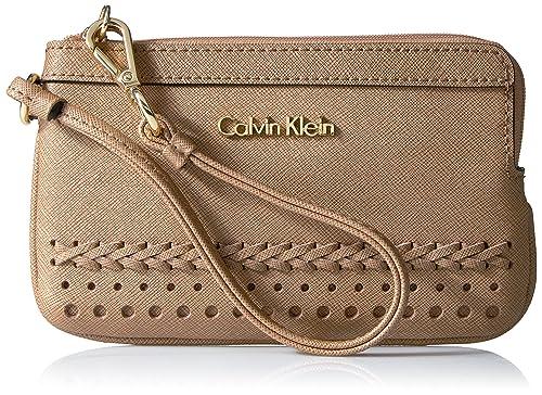 Calvin Klein - Cartera de mano con asa para mujer beige Cashmere Braid: Amazon.es: Zapatos y complementos