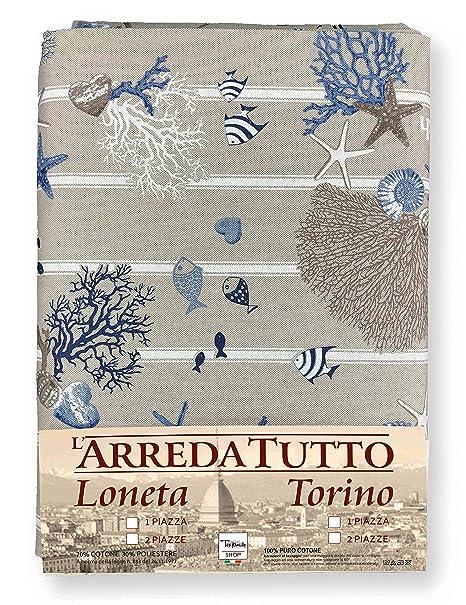 Funda de decoración cubretodo: Maxi foulard para cubrir la cama, los sofás; elaborado con tejido miros, mar marino, corales, color azul, 1 plaza