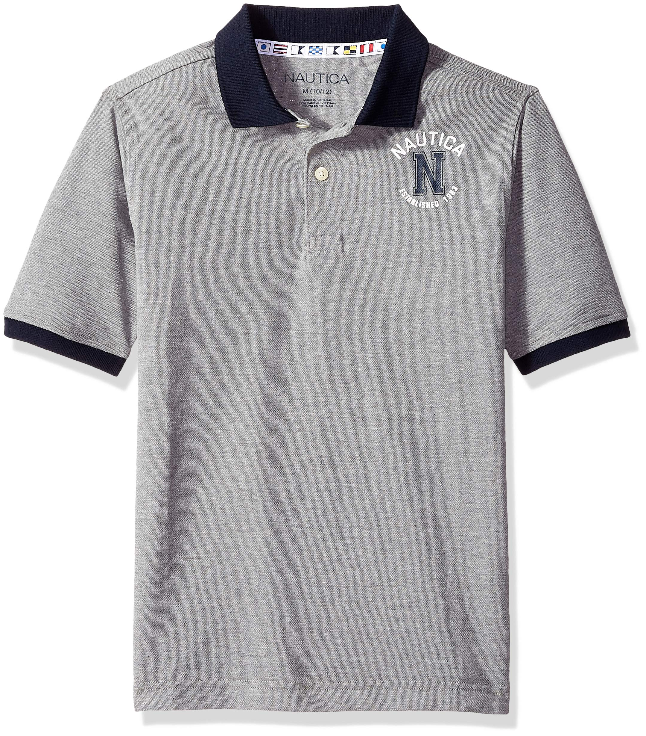 Nautica Little Boys' Short Sleeve Solid Deck Polo With Tipped Collar, Grey Hthr, Medium (5)