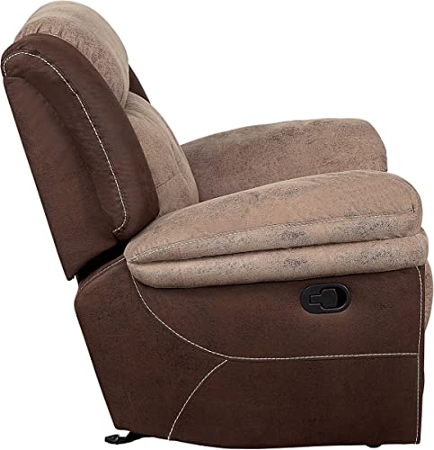 Homelegance Chai 68 Microfiber Double Reclining Loveseat Manual , Brown