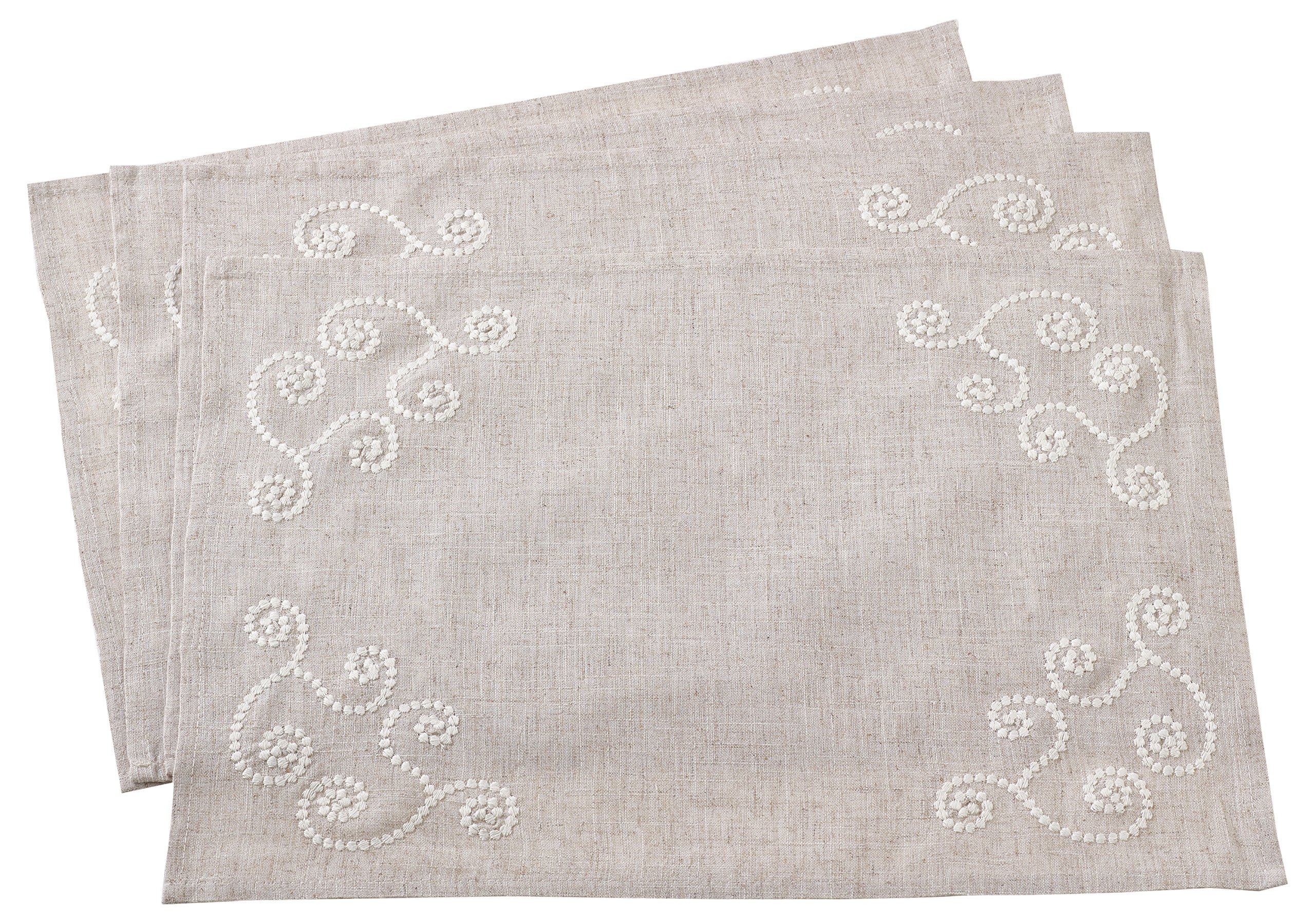 "SARO LIFESTYLE Swirl Embroidered Placemat/001.N1420B, 14"" x 20"", Natural - 80% polyester 20% linen 14"" x 20"" - sold in a set of 4 Machine washable - placemats, kitchen-dining-room-table-linens, kitchen-dining-room - A1T7vBWl9EL -"