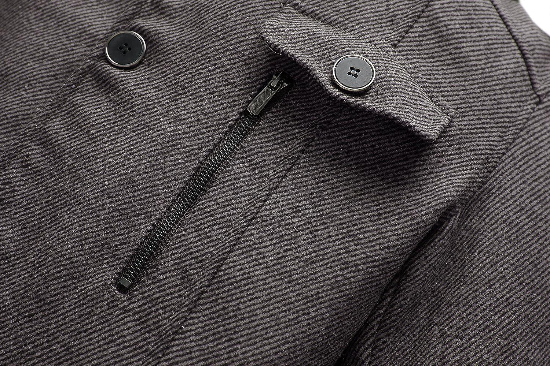 Wantdo Mens Wool Blend Pea Coat Single Breasted Thicken Warm Peacoat Jackets
