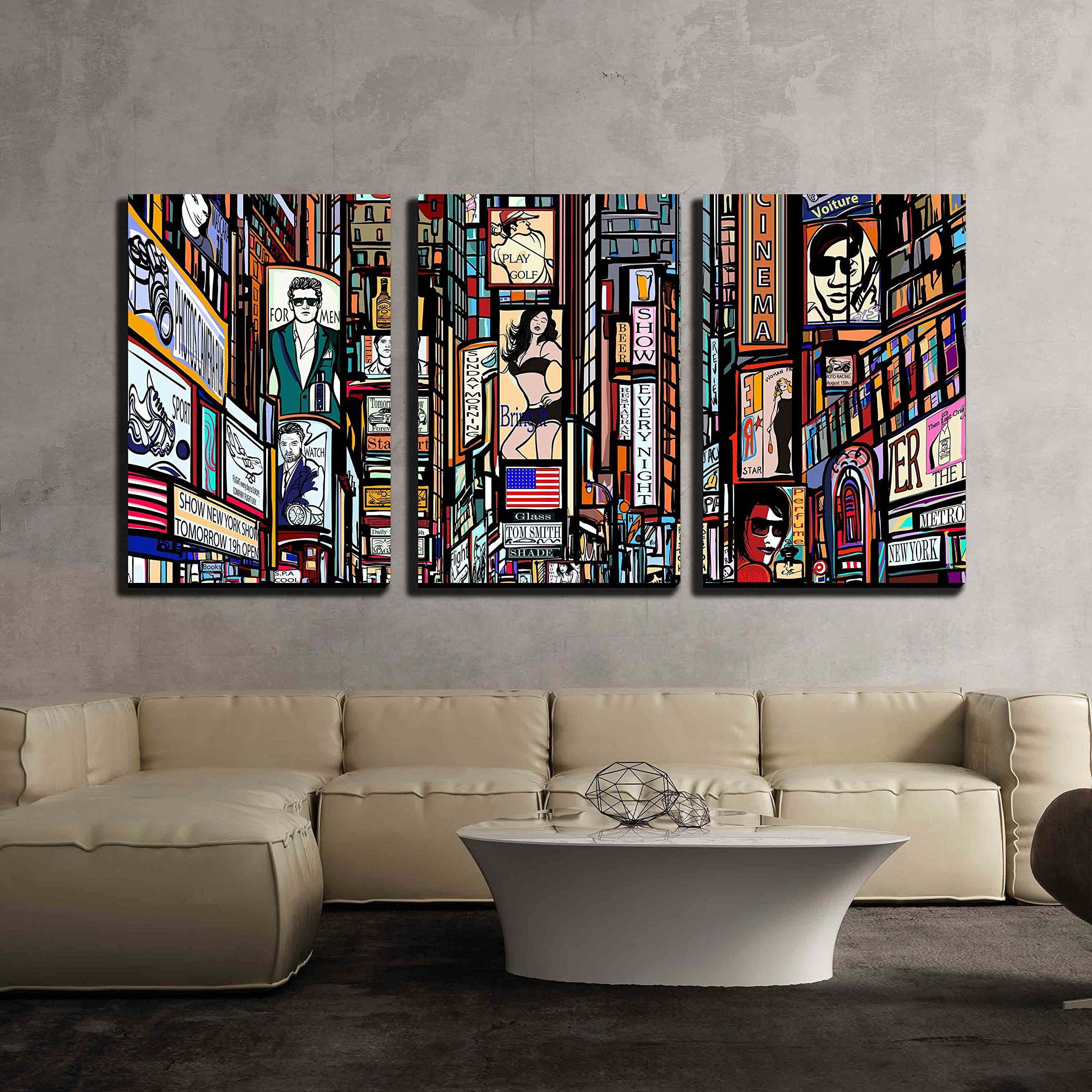 wall26 - 3 Piece Canvas Wall Art - Illustration of a Street in New York City - Modern Home Decor Stretched and Framed Ready to Hang - 16''x24''x3 Panels