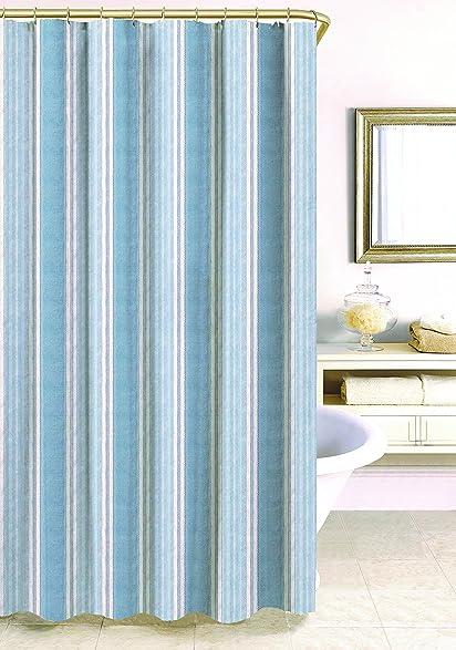 Elegant Homewear 7181 SHWR96\BLUE Savannah Stripe Shower Curtain, 72u0026quot; X  96u0026quot;
