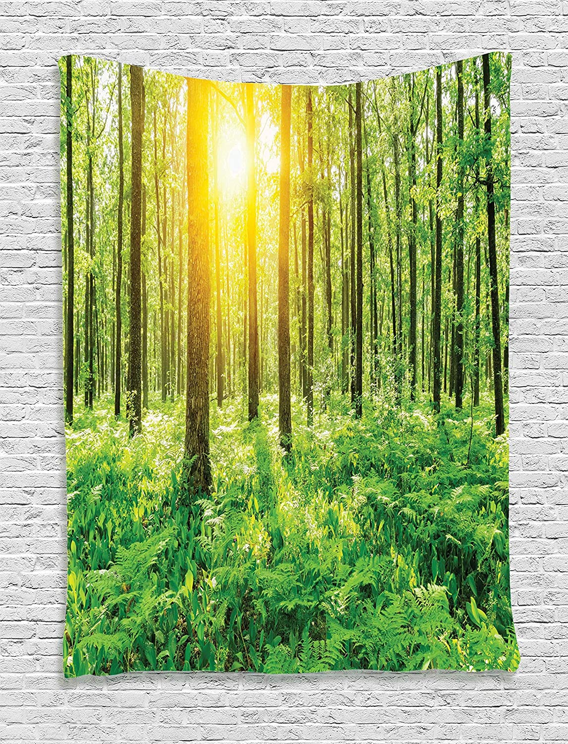 "Ambesonne Woodland Tapestry, Forest Springtime Freshness Theme Foliage Sunbeams Sunrise Nature View Scene, Wall Hanging for Bedroom Living Room Dorm, 60"" X 80"", Green Yellow"
