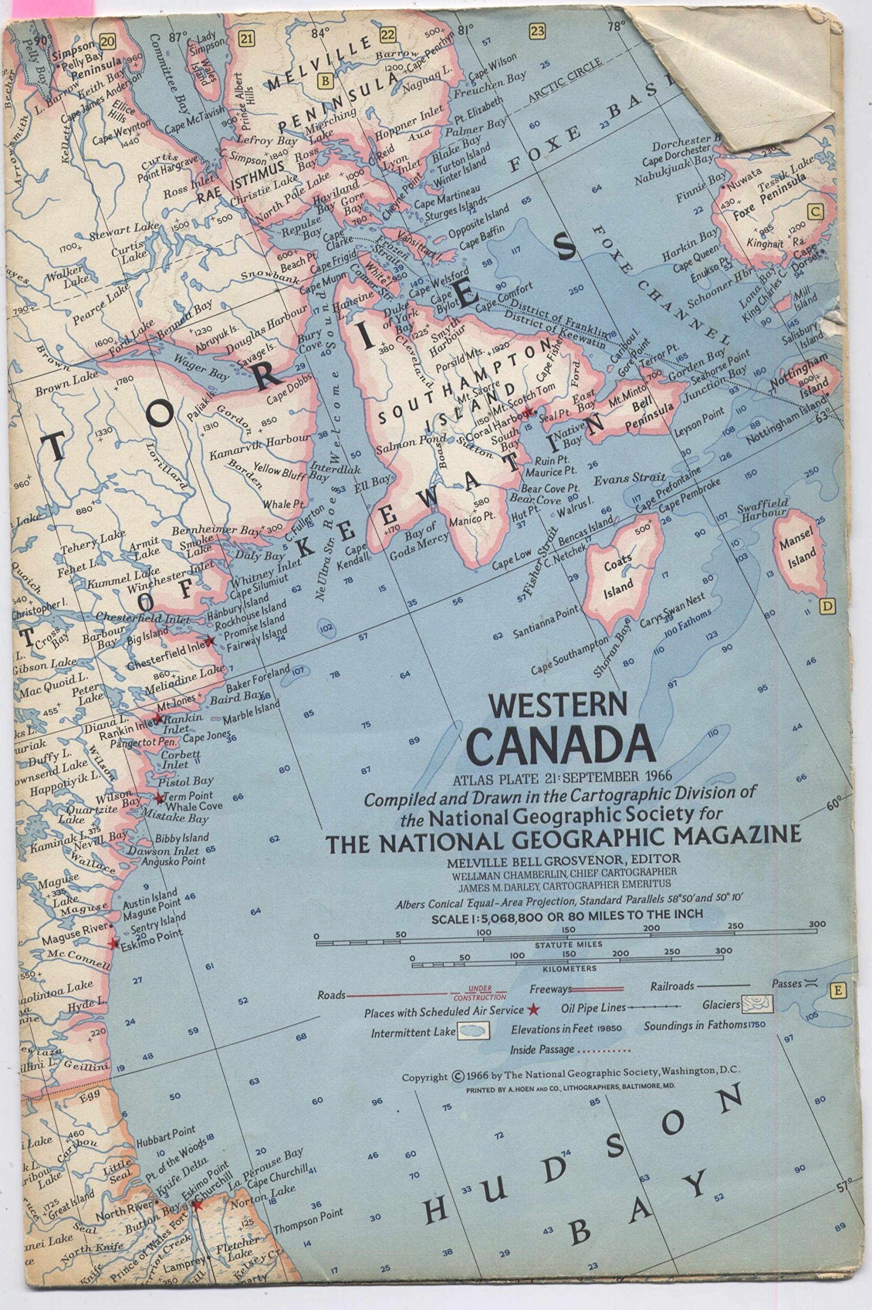 National Geographic Map Western Canada September 1966 Map Only