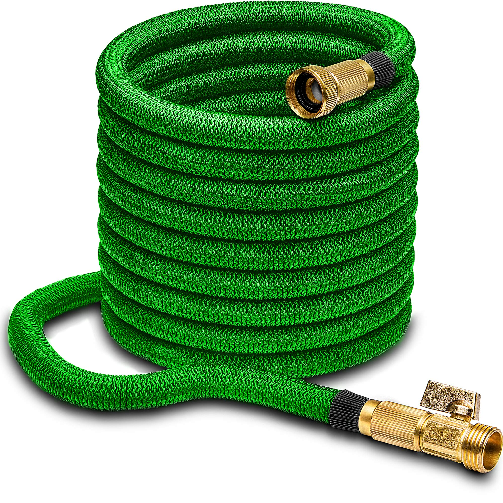 Nifty Grower 100ft Garden Hose - All New Expandable Water Hose with Double Latex Core 3/4'' Solid Brass Fittings Extra Strength Fabric - Flexible Expanding Hose with Storage Bag for Easy Carry