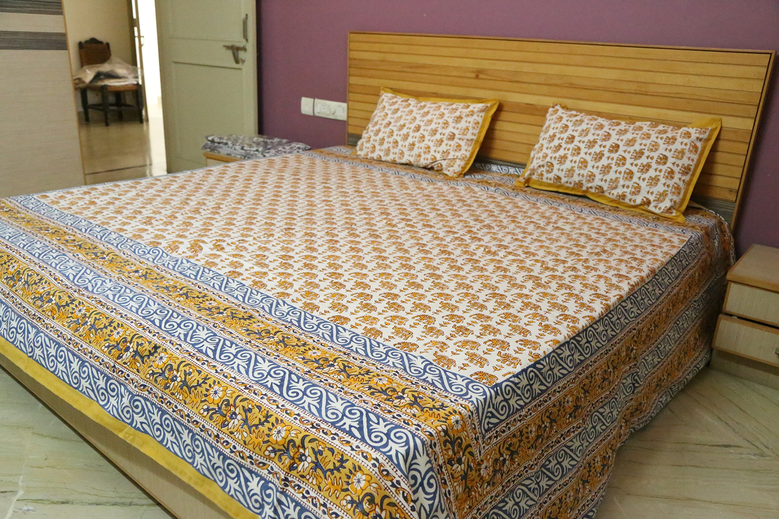Indian Bedspread Jaipur HAND BLOCK Printed Authentic Traditional Cotton Double-Bed Size Bedsheet With 2 Pillow Covers Indian Tapestry Elephant Print 108''x90'' by ArtMartJaipur (Image #2)