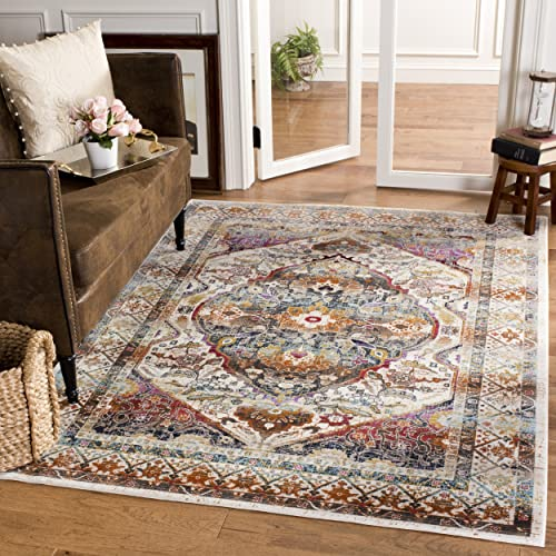 Safavieh Baldwin Collection BDN189B Ivory and Teal Vintage Bohemian Oriental Area Rug 4 x 6