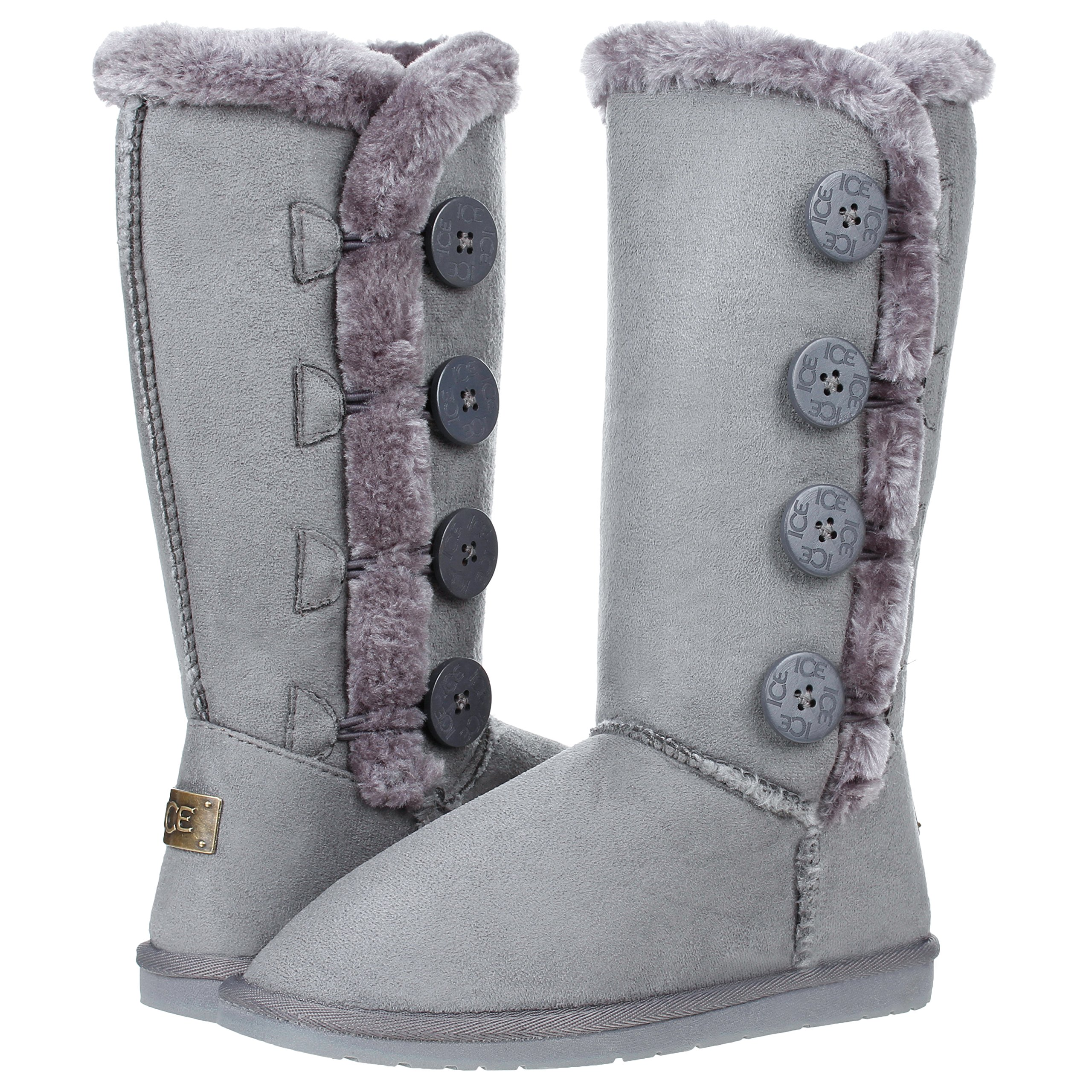 New Women's Four Button Faux Fur Lined Shearling Mid Calf Winter Boots (8, Gray)