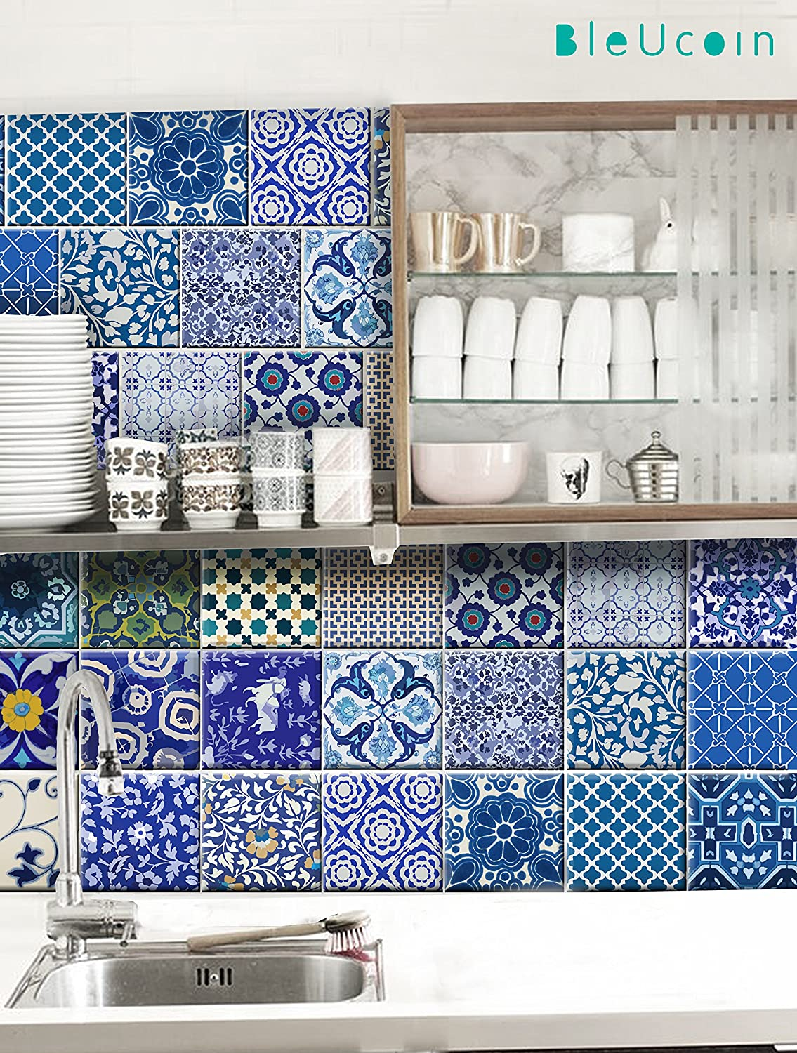 Amazon.com: Indian Jaipur Blue Pottery Tile Stickers for Kitchen and ...