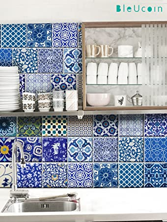 Indian Jaipur Blue Pottery Tile Stickers For Kitchen And Bathroom Backsplash Stair Riser Stickers