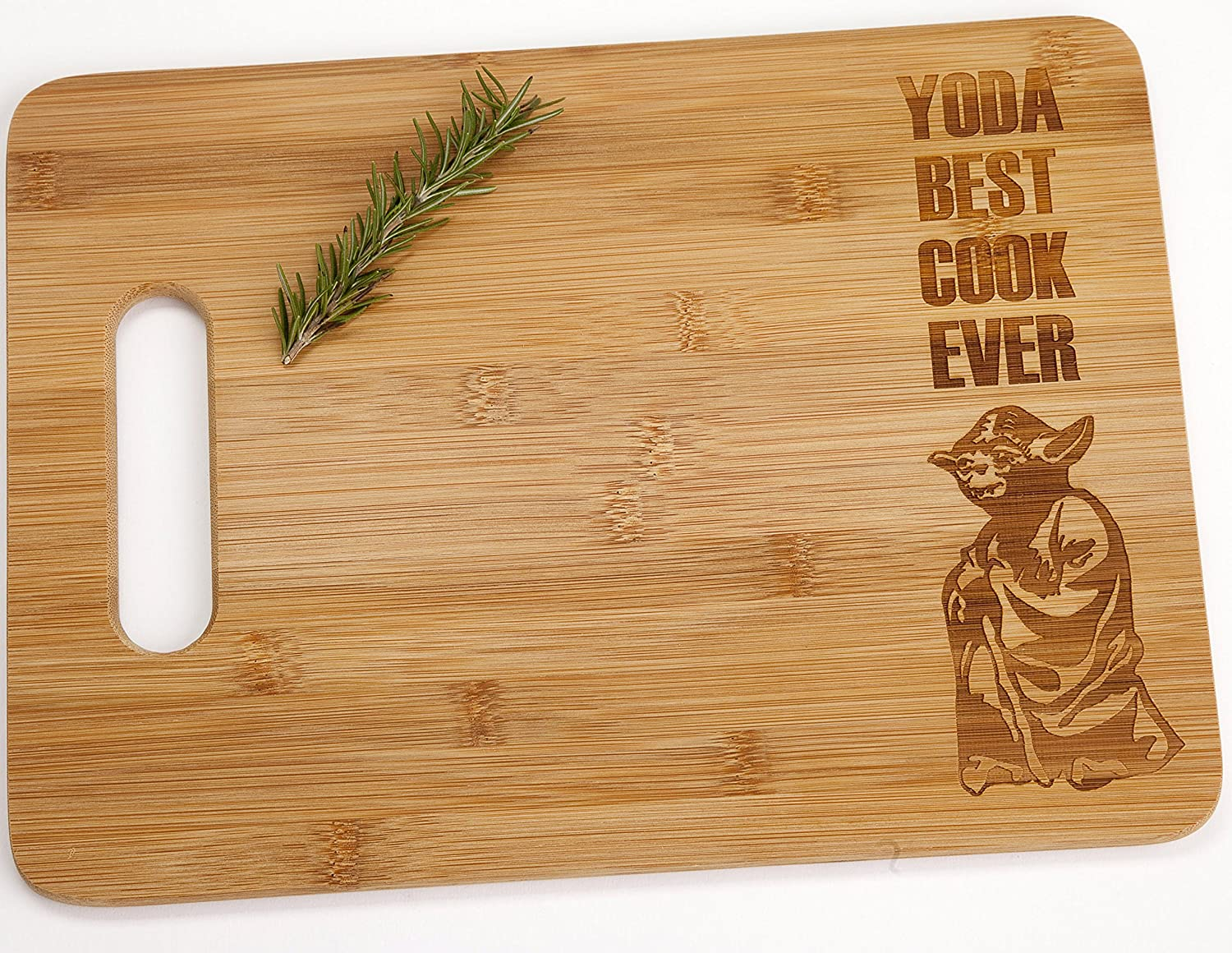 Yoda Best Cook Ever Engraved Bamboo Wood Cutting Board with Handle Star Wars Foodie Gift The Quintessential Hostess QH-CCYBCSSm
