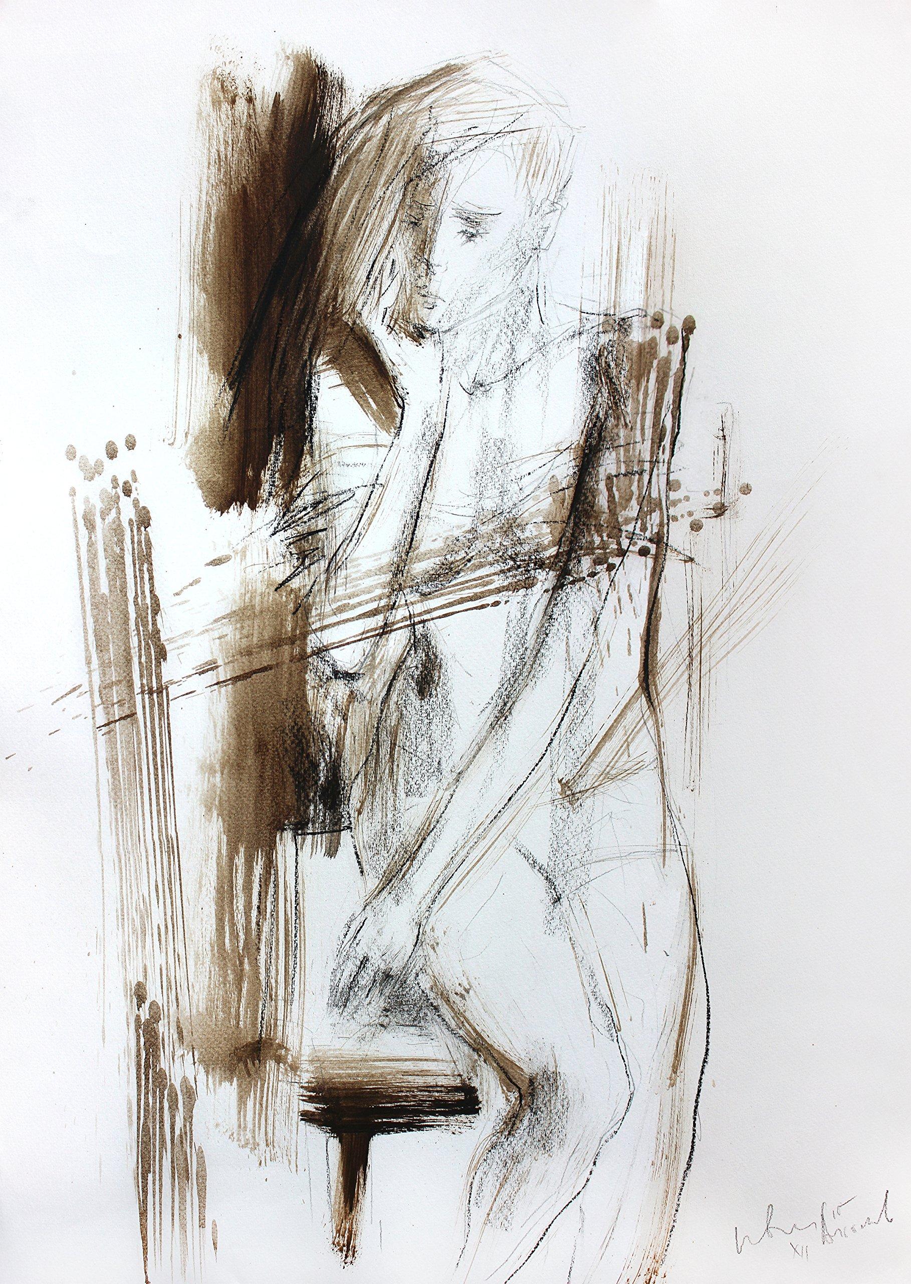 Original charcoal sketch Wall decor Artistic drawing Nude Woman Modern Figurative art by IvMarART