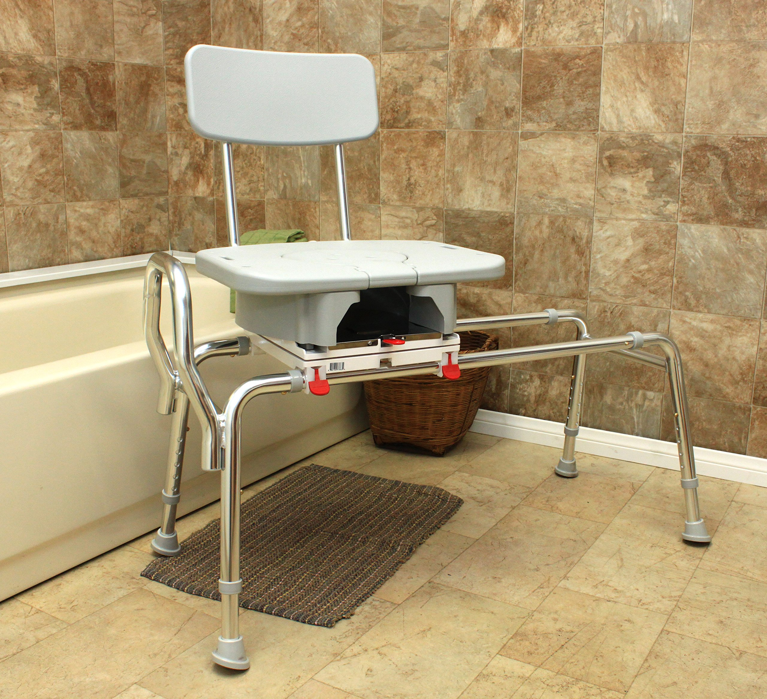 Swivel Sliding Bath Transfer Bench with Replaceable Cut-Out Seat (77683) - Long (Base Length: 43'' - 44'') - Heavy-Duty Shower Bathtub Chair - Eagle Health Supplies by Eagle Health Supplies (Image #4)